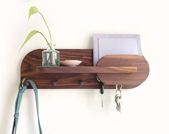 Entryway Organization, Key Holder, Wall Mount Coat Rack with Shelf, Mail Organizer, Exotic Walnut Entryway Organizer for Home Decor