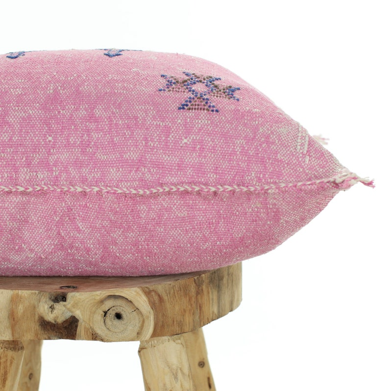 Large Moroccan Sabra Cushion Cover Washed Pink Boho Cactus Silk Pillow Light Pink Color 50 x 50