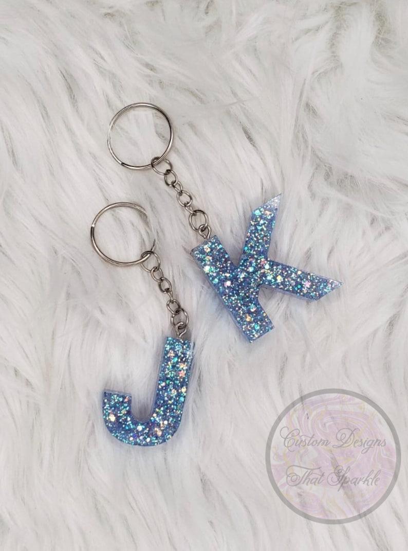 Blue Glitter Keychain Blue Glitter Letter Keychain Letter Keychain