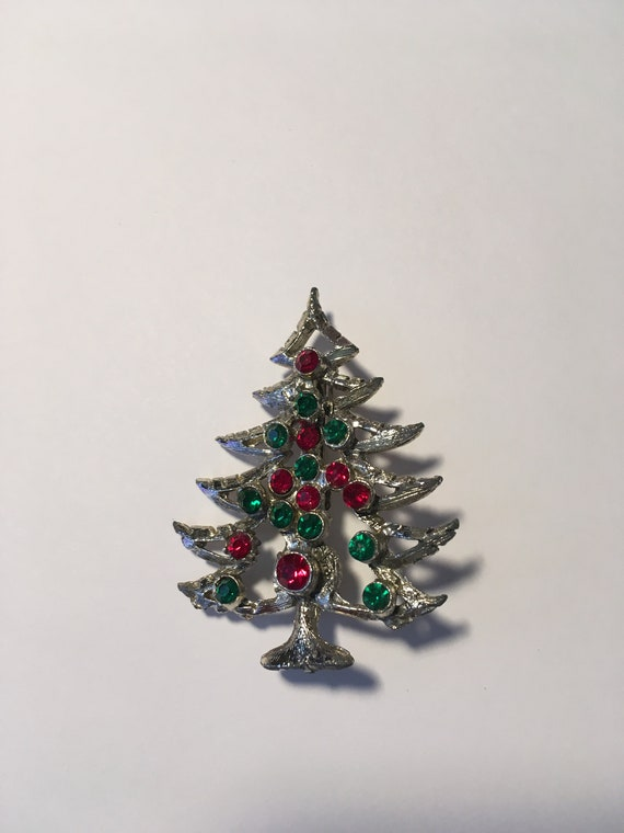 Vintage Silvertone Christmas Tree Pin with Green &