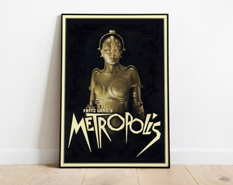 Metropolis Poster for Fritz Lang's 1927 film, with Brigitte Helm // Vintage Science Fiction poster // Vintage Movie Posters