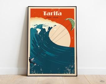 Tarifa, Kitesurfing, illustration Poster, Costa Del Sol , Andalucia, Cadiz, Poster Print, Printable Art, Holiday Prints, Tourist Print