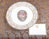 Faberge Imperial Cameo Easter Egg Charger Plate - 24K Gold Trim - Certificate - Original Box -Collector Very Rare Porcelain Limoges France