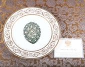 Faberge Imperial Rose Easter Egg Charger Plate - 24K Gold Trim - Certificate - Original Box - Collector Very Rare Porcelain Limoges France