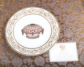 Faberge Renaissance Easter Egg Charger Plate - 24K Gold Trim - Certificate - Original Box -Collector Very Rare Porcelain Limoges, France