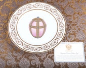 Faberge Imperial Easter Egg Charger Plate - 24K Gold Trim - Certificate - Original Box - Collector Very Rare Porcelain Limoges France