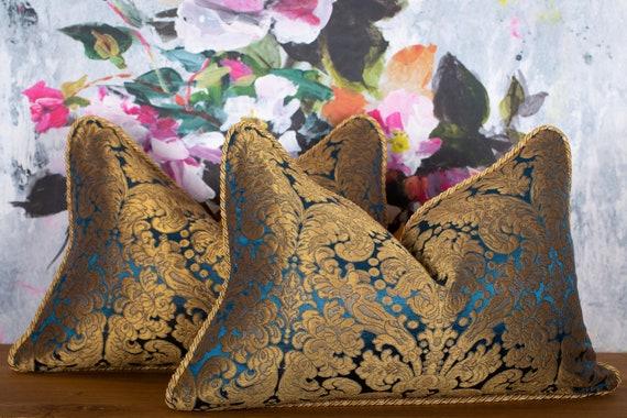 lumbar accent throw pillow cover high end Donghia fabric 16x24 Rubelli Les Indes Gallantes silk pillow golden Venetian silk jacquard