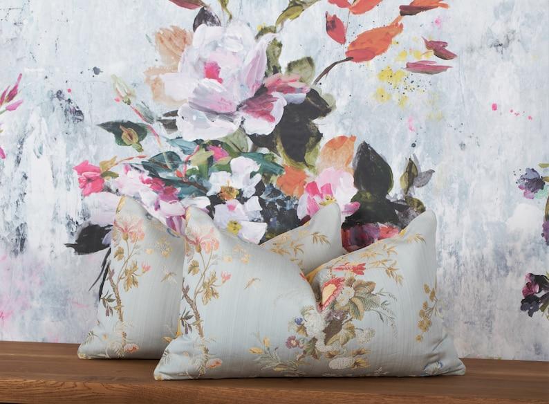 16x24 Scalamandre Colony Aprile Celeste Light Bule accent pillow cover luxury Italian flower lampas pillow cushion cover