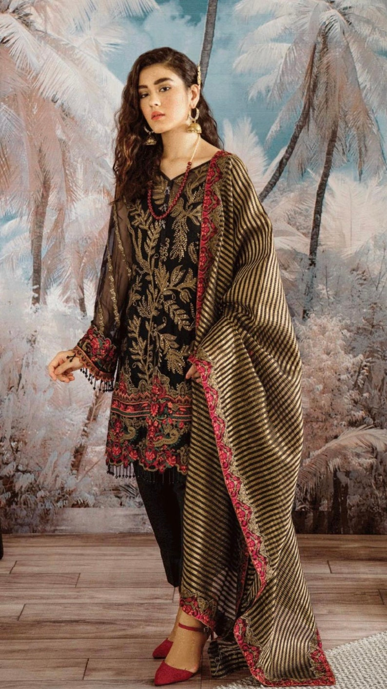 New eid connection Pakistani three pieces suit embroidery chiffon,