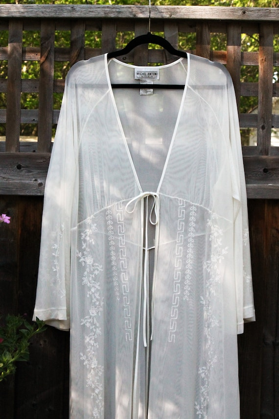 White Sheer Peignoir with Floral Embroidery | 2 XL