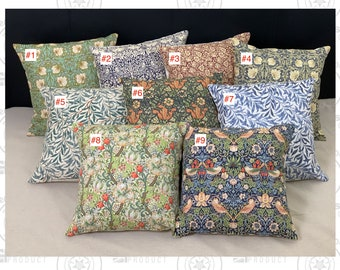 Cushion Cover - William Morris - 100% Cotton, Handmade, Gift Idea, British product