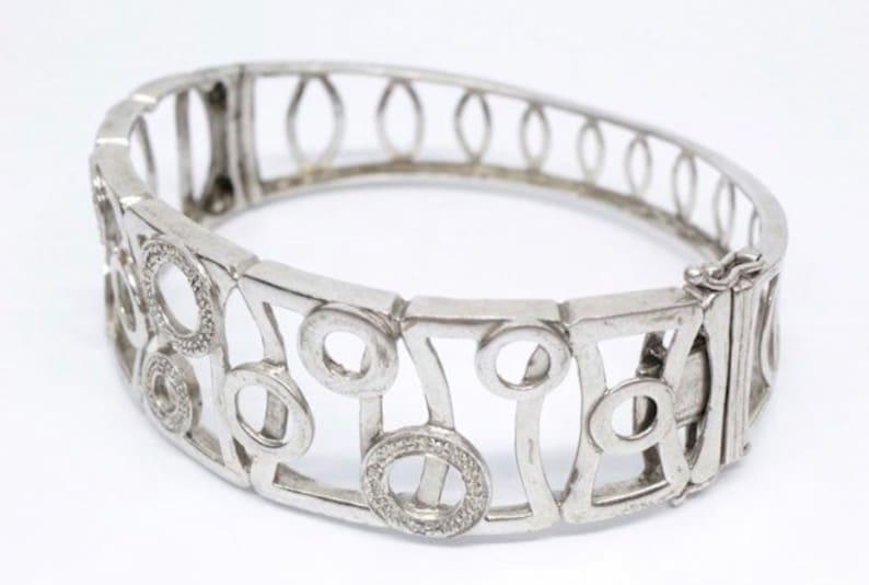 I rage geometric design sterling cuff bracelet