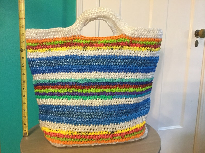 Blue bright striped large plarn bag image 0