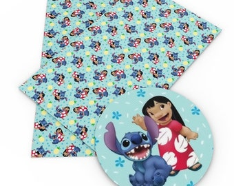 Stitch and Lilo with snowflakes in background Faux Christmas Leather. Lilo and Stitch Christmas Leather with Blue and Green Background