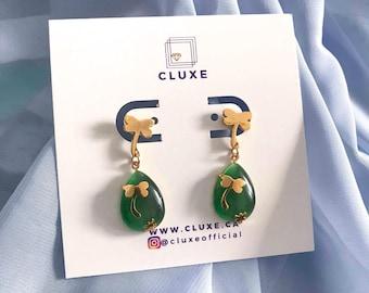 Emerald Earrings, Teardrop Earrings, Birthstone Jewelry, Unique Gifts for Women, Drop Earrings, Stocking Stuffer, Gold Earrings Dangle