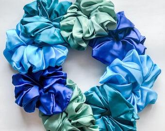 Silk Satin Scrunchie, Oversized Scrunchie, Hair Tie, Pink Scrunchie, Summer Hair Accessory, Birthday Gift, Silk Ponytail
