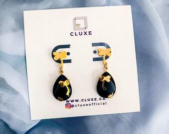 Teardrop Earrings, Gemstone Earrings, Black Earrings, Unique Gifts for Women, Opal Drop Earrings, Stocking Stuffer, Gold Earrings Dangle