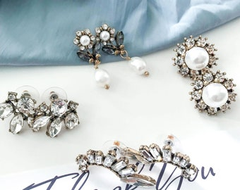 Set of 4 Pairs, Vintage Earrings Lot, Jewelry Bundle, Statement Jewelry, Photoshoot Accessory, Party Earrings, Holiday Earrings
