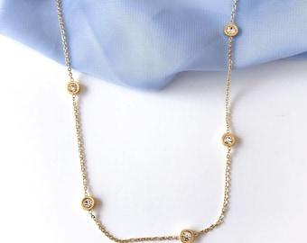 Diamond Necklace, Matinee Necklace, Zirconia Jewelry, Bridesmaid Gift, Everyday Necklace, Minimalist Design, Long Necklace, Handmade