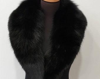Fur collar, fox fur collar,black fur collar