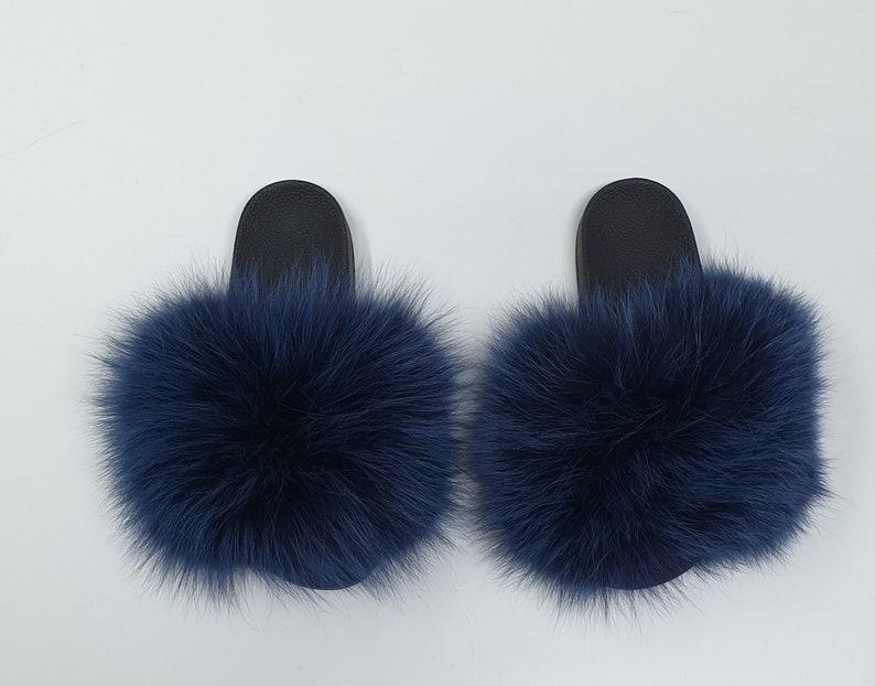 fluffy fur shoes,fur shoes,fox fur slides Fur Slides,fur slippers