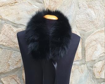 Fur collar, fox fur collar, fox scarf, black fur scarf