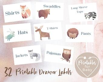 32 Woodland Animals Printable Drawer Labels, Nursery Babies Kids Children Clothing Organization, Wardrobe Baby Clothes Organizer WADL001