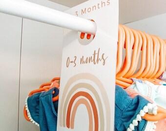 Baby Wardrobe Dividers Printable, Modern Fun Boho Rainbow Nursery Decor, Scandinavian Rainbow Minimal Nursery Baby Closet Organizer  BRC001