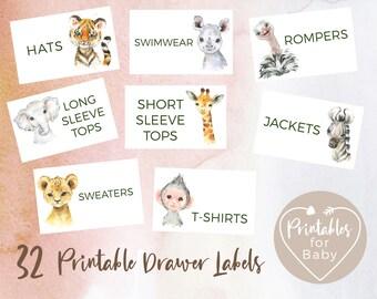 32 Drawer Labels Printable Safari Jungle Animals, Nursery Babies Kids Children Closet Organization, Wardrobe Baby Clothes Organizer JADL001