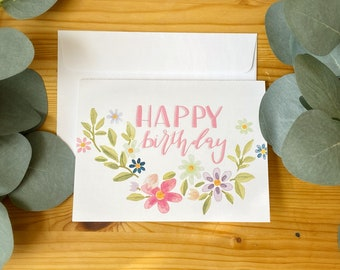 Birthday Card For All Ages, Multicolor, Blank ,Hand Lettered - Colorful, Fun And Hand Made Cards-Brush Pen Lettering-Card Stock Card