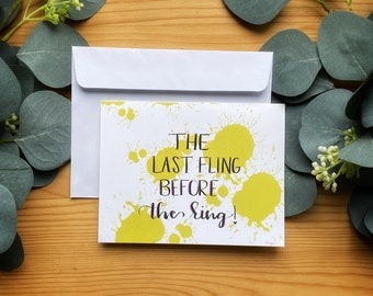 Bachelorette Party Card,  Colorful, Blank,Hand Lettered-Celebration And Party Cards-Simple, Beautiful Brush Pen Calligraphy-Card Stock Cards