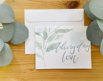 Wedding Day Customizable Card, Blank, Hand Lettered- Cards For Brides, Grooms Or Couples- Beautiful, Simple Calligraphy- Card Stock Cards