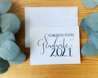 Graduation, Congratulations Card For Graduates,Hand Lettered, Simple,Blank-Customizable Graduation Card-Brush Pen lettering-Card Stock Cards