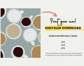 DIGITAL DOWNLOAD Coffee Poster for The Kitchen Poster Illustration Coffee Gift Poster for dining room Mid-Century Boho Poster