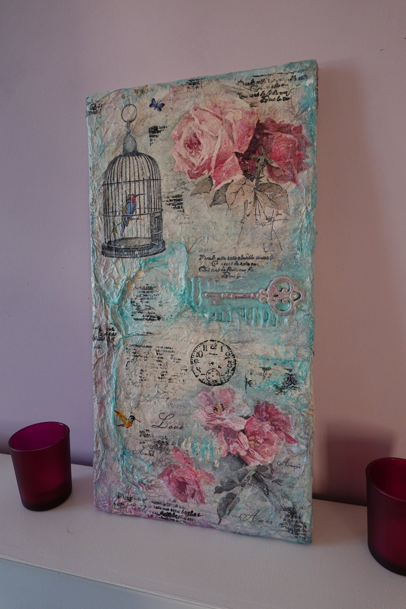 shabby chic Mixed Media Art unique canvas art one off wall art 3d art on canvas with embellishments