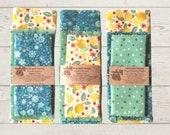 Reusable - 3 - Pack Beeswax Wrap Baggie Set - Lemons - Floral - Green Polka Dot