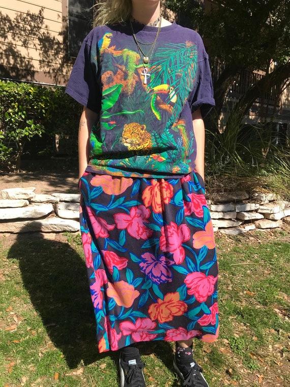 Vintage 80s 90s Grunge Floral Skirt