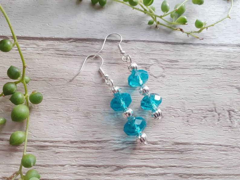 accessories. Jewellery costume jewelry Uk seller Handmade blue bead drop earrings