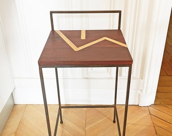 wooden and steel chair