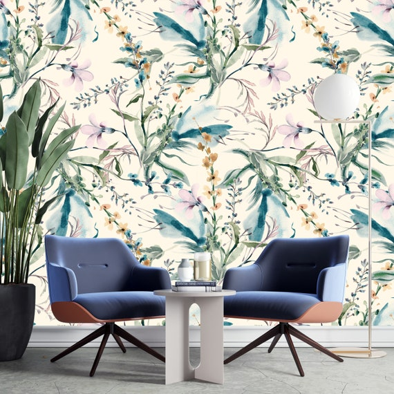 Flowers wall mural Tropical Patchwork removable wallpaper Watercolor wall decor Peel and stick MAF017 Reusable Removable
