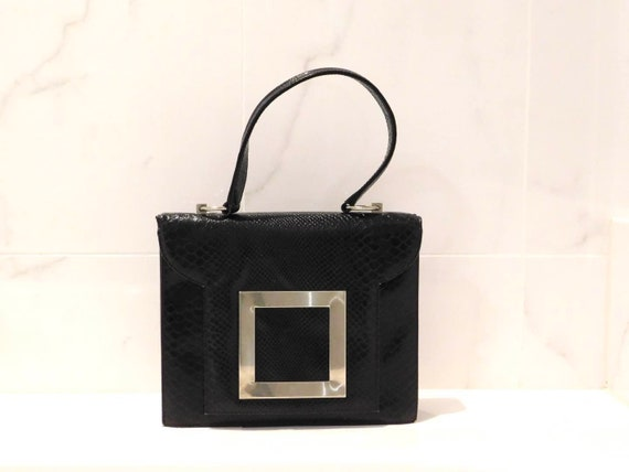 Vintage 1960s Signed Dorian Black Top Handle Bag