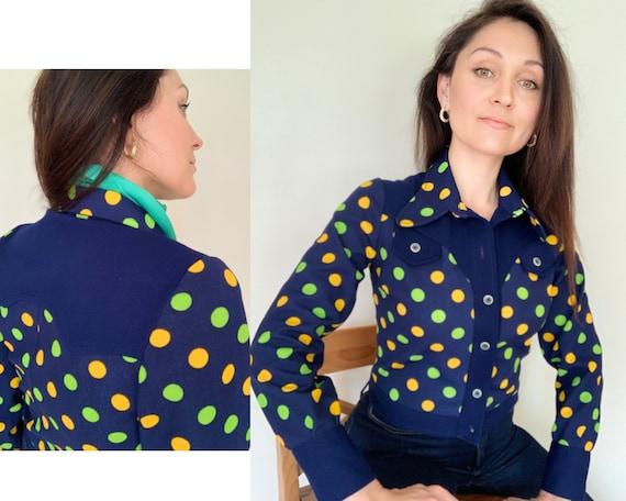 Vintage 70s Navy Blue & Polka Dot Shirt-Jacket/70s