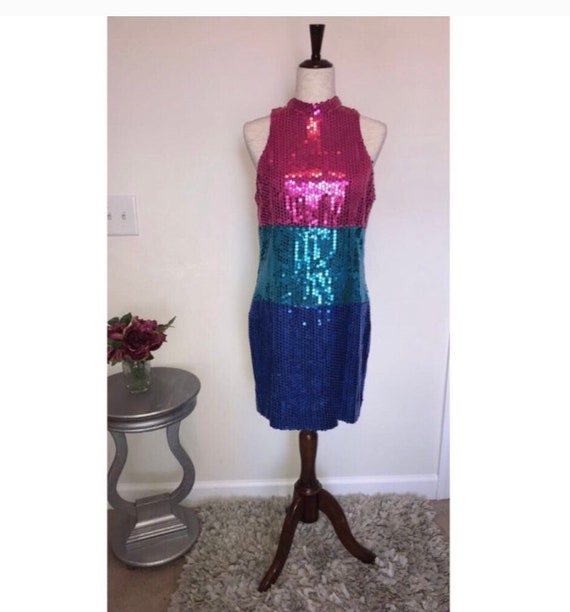 Vintage 1980s sequin colorblock choker dress
