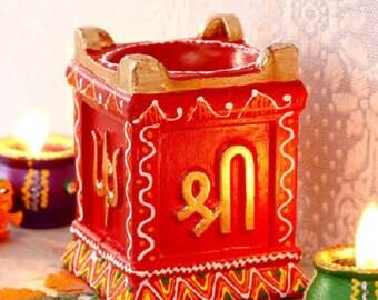 Himalayan Range terracotta hand carved laxmi Kund Tulsi puja tea light diya home decor temple fancy religious Hindu decoration