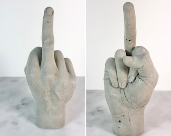 Concrete Middle Finger Hand. Offensive rude bird sign. Industrial realistic lifelike cement gift. Non plastic, plastic free, eco friendly.