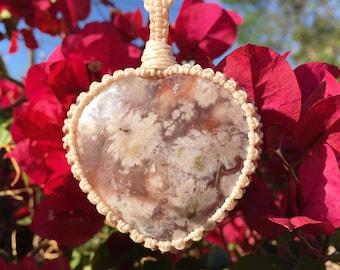 Success | Big Heart Shape, Flower Agate Macrame Necklace, Flower Agate Necklace, Flower Agate Pendant, Healing stone, Chakra