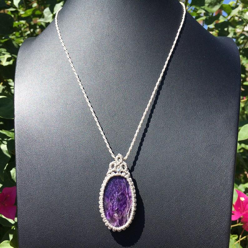 macrame jewelry hippie spiritual balance Yoga gift healing stone bohemian jewelry Purple Charoite Macrame Necklace Charoite Pendant