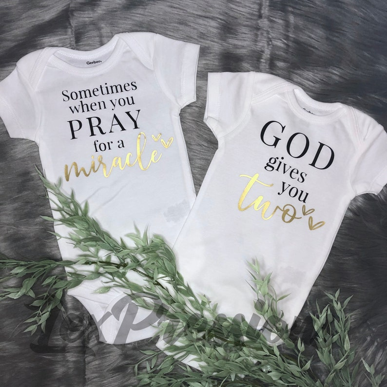 God/'s Plan Set Twin Miracle Bodysuits Twin Baby Shower Gift Twins Only Matching Snapsuit Gender Neutral Bodysuit Set Twin Babies