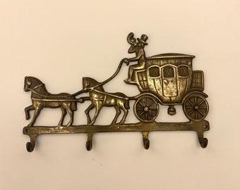 Vintage Brass Coat Hook / Hanger / Rack, Coach and Horses