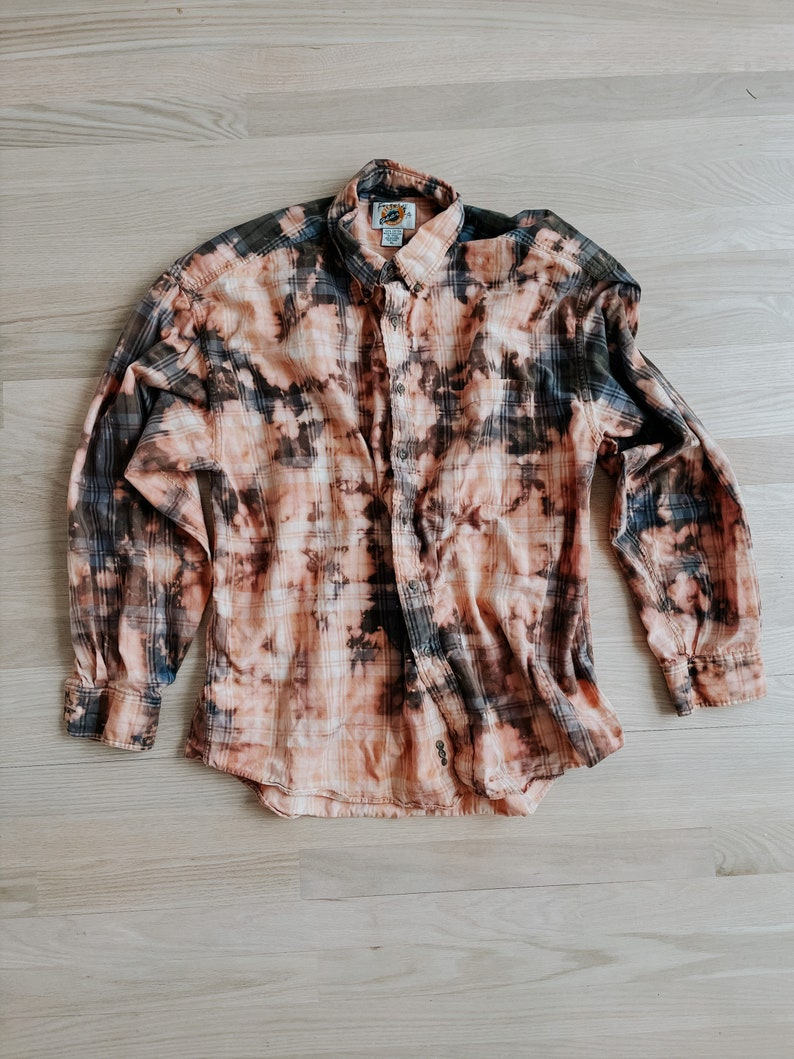 Distressed bleach dyed flannel button down shirts hipster